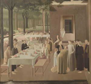 Winifred Knights, The Marriage at Cana, 1923, Oil on canvas, 184 x 200 cm, Collection of the Museum of New Zealand Te Papa Tongarewa. Gift of the British School at Rome, London, 1957. © The Estate of Winifred Knights