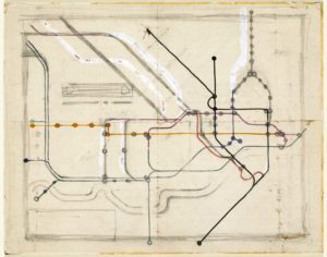 Harry Beck tube map sketch Victoria and Albert Museum © TfL